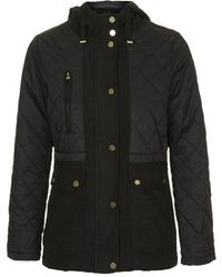Topshop Petite Quilted Parka Jacket black - Lyst