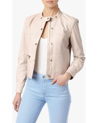 7 For All Mankind Leather Bomber Jacket With Snaps - Lyst