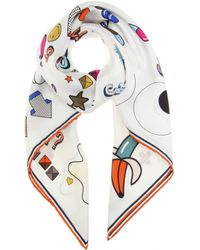 Anya Hindmarch All Over Sticker Printed Silk Scarf white - Lyst