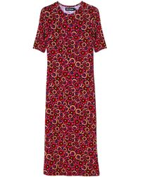 House of Holland Red Floral Midi Dress red - Lyst