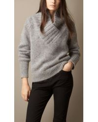 Burberry Brushed Mohair Blend Shawl Collar Sweater - Lyst
