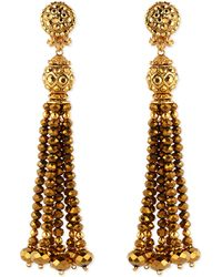 Jose & Maria Barrera Golden Crystal Tassel Clip-On Earrings - Lyst