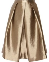 Tibi Halcyon Metallic Pleated Taffeta Skirt - Lyst