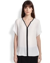 Vince Contrast-Trimmed Silk Top - Lyst
