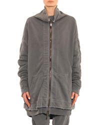 Haider Ackermann Distressed Cotton-jersey Zip Sweatshirt - Lyst