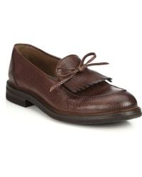 Brunello Cucinelli Kiltie Tassel Leather Loafers - Lyst