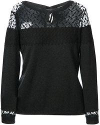 Nina Ricci Lace Panel Sweater - Lyst