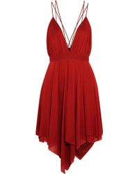 Balmain Draped Jersey-Crepe Mini Dress - Lyst