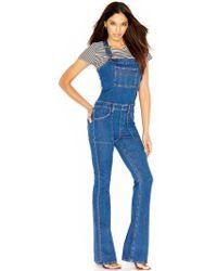 Joe's Jeans Flare-Leg Charlie Denim Overalls - Lyst