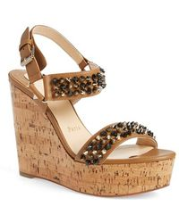 christian louboutin suede platform wedge sandals