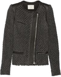 Iro Lina Leather-trimmed Open-knit Wool-blend Jacket - Lyst