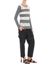 Yohji Yamamoto Lace  French Terry Stripe Sweater - Lyst