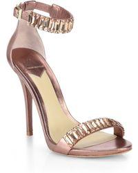 B Brian Atwood Ciara Crystal & Metallic Leather Sandals - Lyst