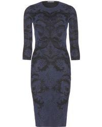 Alexander McQueen Intarsia Stretch Knit Dress - Lyst