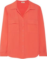L'Agence Pink Washed-silk Shirt - Lyst