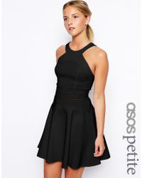 Asos Exclusive Cutaway Skater Dress With Sheer Detail - Lyst