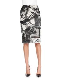 Lela Rose Abstract Embroidered Pencil Skirt - Lyst