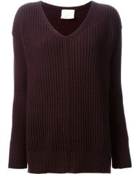 Forte Forte Ribbed Vneck Sweater - Lyst