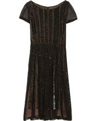 Oscar de la Renta Sequin-embellished Silk-chiffon Dress - Lyst