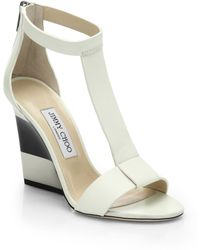 Jimmy Choo Maxy Leather T-Strap Platform Wedge Sandals white - Lyst