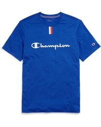 dd179e51df75 Champion Colour Block Trim Script Logo T-shirt Navy in Purple for ...