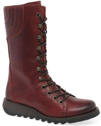 Fly London - Ster Womens Lace Up Leather Mid Calf Boots - Lyst