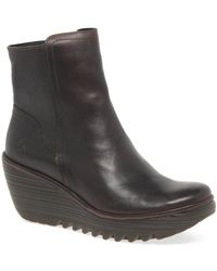 Fly London - Yeti Womens Leather Wedge Heel Ankle Boots - Lyst