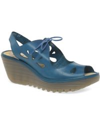 Fly London - Yend Womens Wedge Lace Up Sandals - Lyst