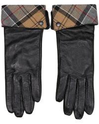Barbour Lady Jane Black Leather Fold Down Tartan Cuff Gloves