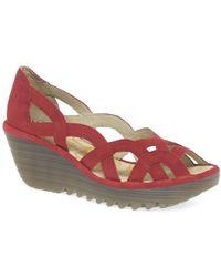 Fly London - Red Leather 'yadi' Women's Wedge Heel Sandals - Lyst