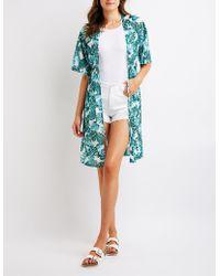 Charlotte Russe - Tropical Print Mesh Kimono - Lyst