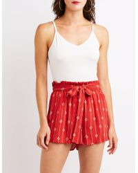 Charlotte Russe - Printed Tie-front Paperbag Shorts - Lyst