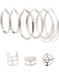 Charlotte Russe - Caged Rings & Hoop Earrings Set - Lyst
