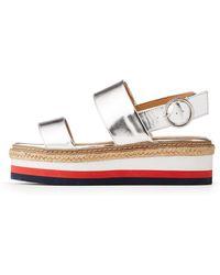 Charlotte Russe - Bamboo Metallic Flatform Sandals - Lyst