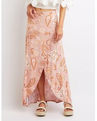 Charlotte Russe - Paisley Maxi Wrap Skirt - Lyst
