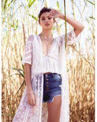 Charlotte Russe - Lace Tie Front Kimono - Lyst