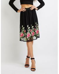 Charlotte Russe - Floral Embroidered Tulle Full Midi Skirt - Lyst