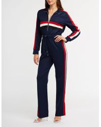Charlotte Russe - Sporty Striped Zip Up Jumpsuit - Lyst