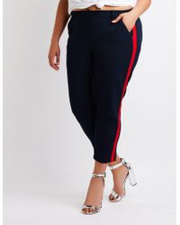 Charlotte Russe - Plus Size Striped Cropped Trousers - Lyst