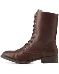 Charlotte Russe - Lace-up Combat Booties - Lyst