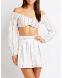 2ede4db3880936 Lyst - Charlotte Russe Striped Off-the-shoulder Knotted Crop Top in ...