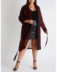 Charlotte Russe - Plus Size Striped Tie Front Kimono - Lyst