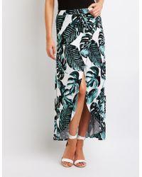 Charlotte Russe - Palm Print Wrap Maxi Skirt - Lyst