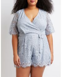 0210c14353a4 Lyst - Charlotte Russe Plus Size Sequin V-neck Romper in White