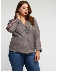 Charlotte Russe - Plus Size Glen Plaid Side Stripe Blazer - Lyst