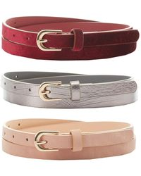Charlotte Russe - Velvet, Stamped & Faux Leather Belts - 3 Pack - Lyst