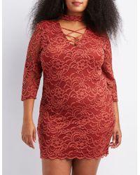 Charlotte Russe - Plus Size Choker Neck Lattice-front Bodycon Dress - Lyst