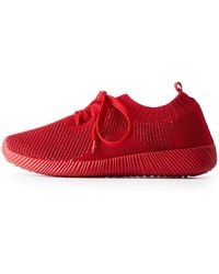 Charlotte Russe - Qupid Colored Knit Lace Up Sneakers - Lyst