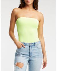 04a23b7d14 Lyst - Charlotte Russe Plus Size Honey Tube Bodysuit