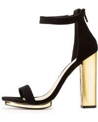5ee5b8ffd3a9 Charlotte Russe - Wide Width Ankle Strap Metallic Heel Sandals - Lyst